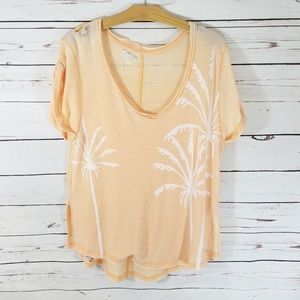 Free People Orange Palm Print Short Sleeve